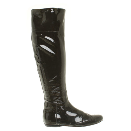 Miu Miu Shiny leather boots in dark grey