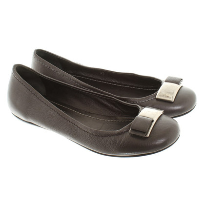 Car Shoe Ballerina Taupe in pelle