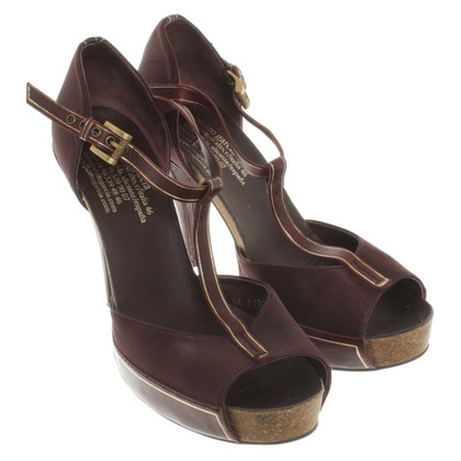 Pedro Garcia Satin Sandals in Bordeaux