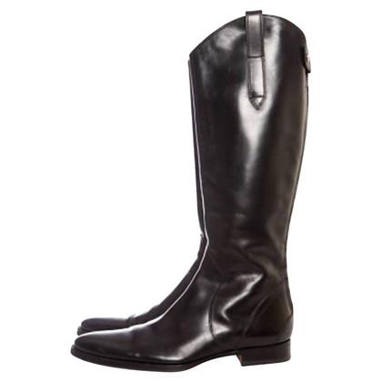 Santoni Black leather boots