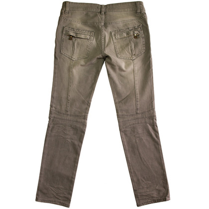 Balmain Gray Denim Biker pants