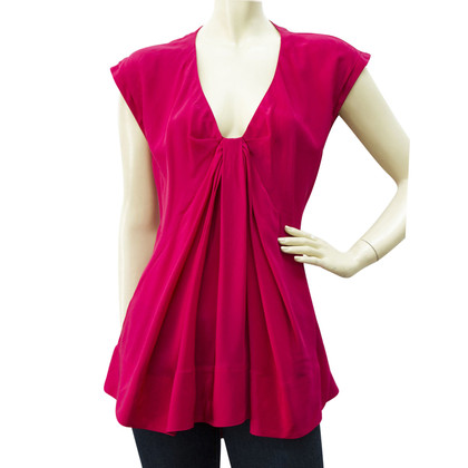 Donna Karan Sleeveless V neck A line 100% silk top