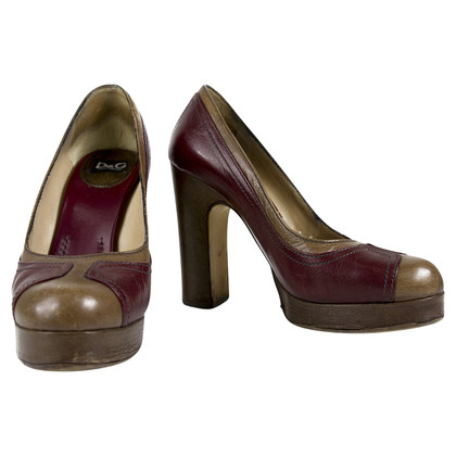 Dolce & Gabbana Taupe & Burgundy Leather Pumps