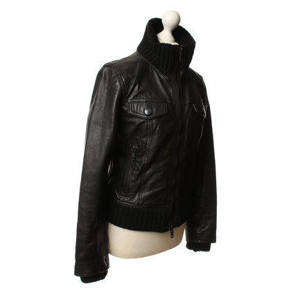 DKNY Leather jacket with wool details