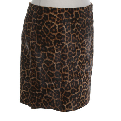 Michael Kors Leather skirt with pony fur trim