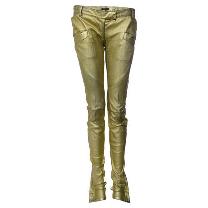 Balmain Pantalon de motard en cuir métallique doré