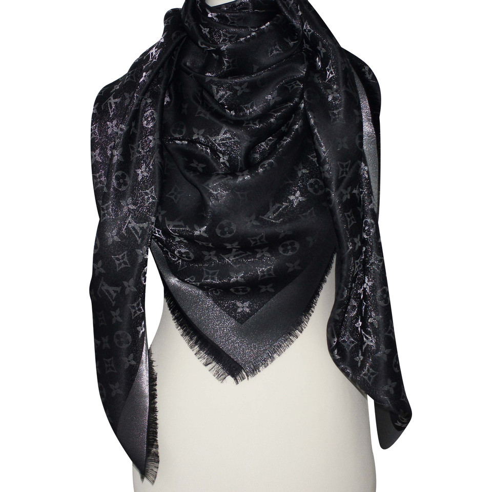 louis vuitton monogram shine scarf in black silver buy. Black Bedroom Furniture Sets. Home Design Ideas