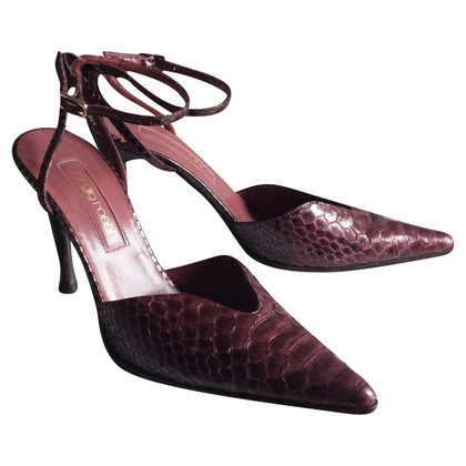 Sergio Rossi Python leather slingbacks