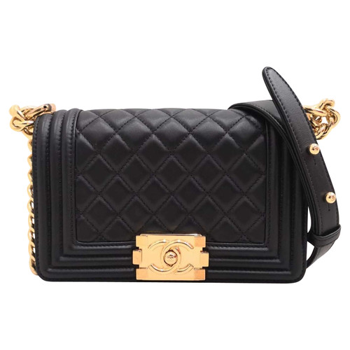 b5cbfab625f5 Chanel Boy Bag Leather in Black - Second Hand Chanel Boy Bag Leather ...