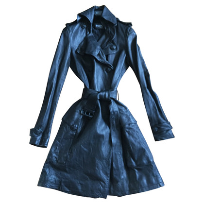 Balmain Manteau de cuir noir