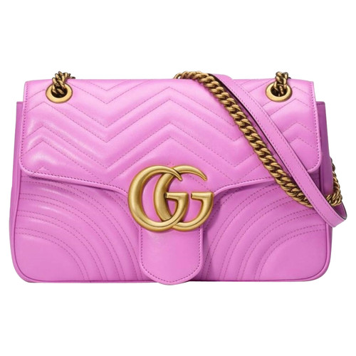 b813b32b6425 Gucci GG Marmont Flap Bag Normal Leather in Pink - Second Hand Gucci ...