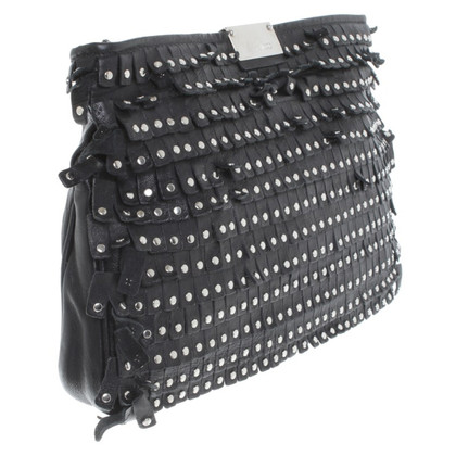 Jimmy Choo Black clutch met klinknagels
