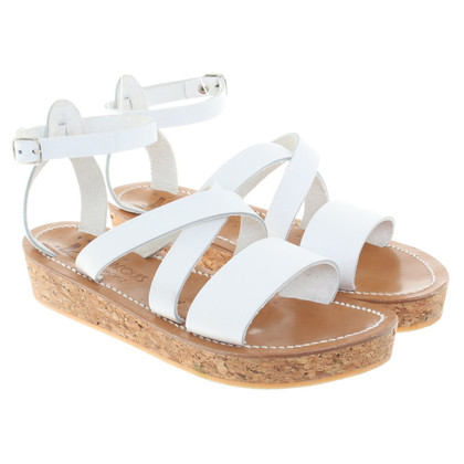 K Jacques Sandals in White