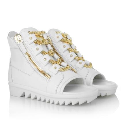 Giuseppe Zanotti Peeptoe sneakers in bianco