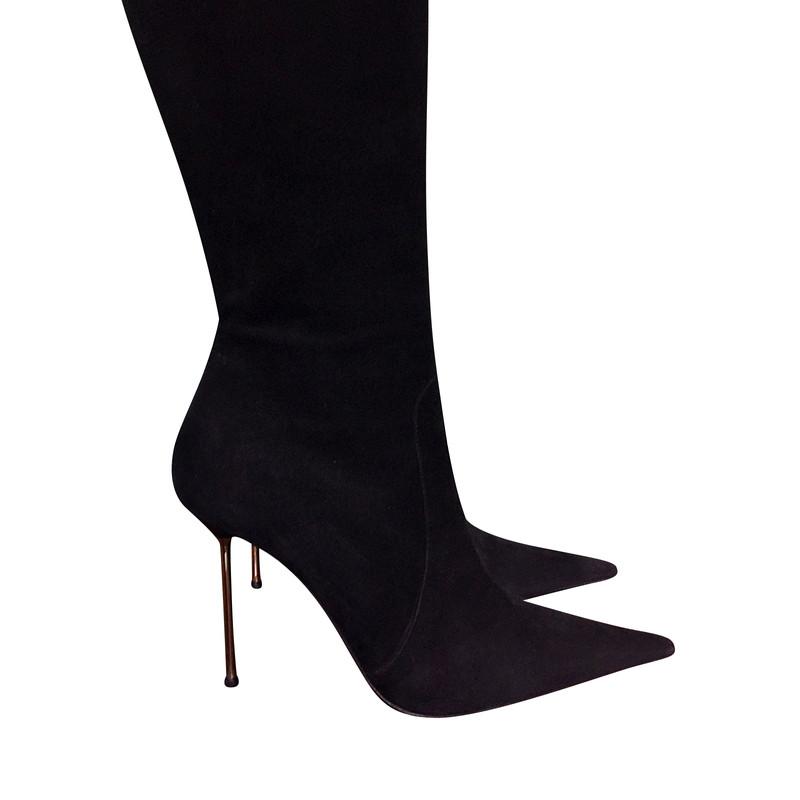 Details zu GIANMARCO LORENZI Black Leather Overknee Boots gr. EUR 38