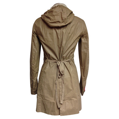 Prada Camel waxed cotton collared trench coat