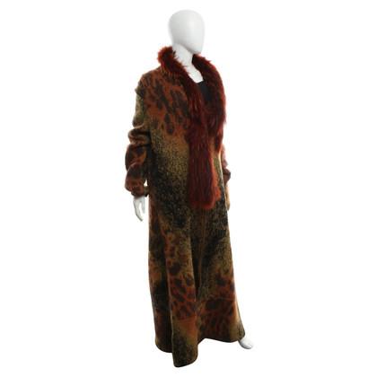 Just Cavalli cappotto di maglia con collo in pelliccia