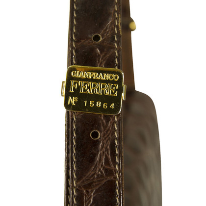 Ferre Croco Brown Flap  Umhängetasche