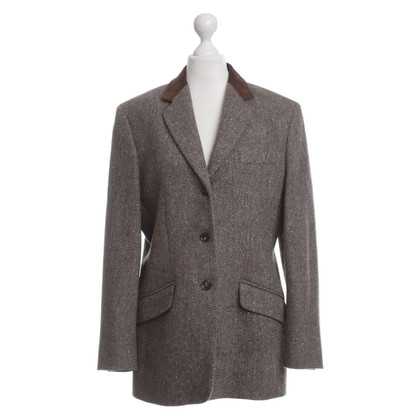 Max Mara Blazer in lana con colletto in pelle scamosciata