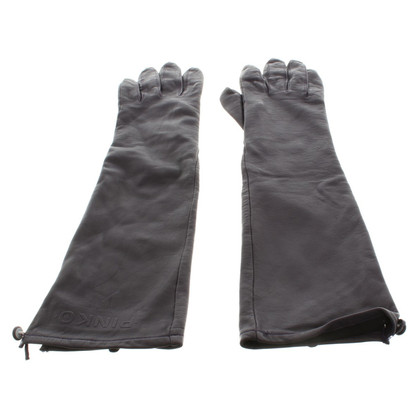 Pinko Leather Gloves in Aubergine