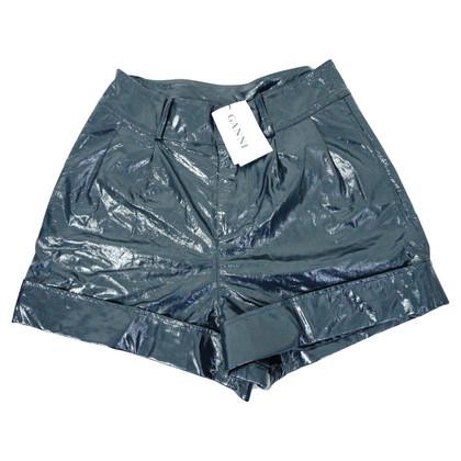 Ganni Lack  Leather Mini Shorts