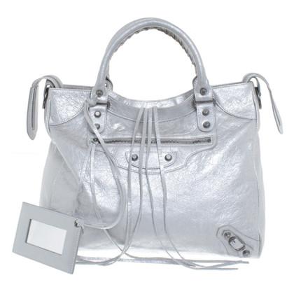 Balenciaga borsa color argento con borchie
