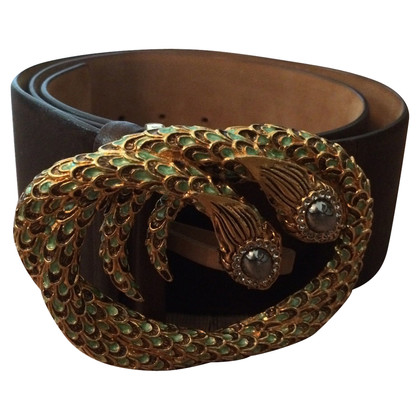 Roberto Cavalli Brauner Gürtel mit Schlangen-Logo