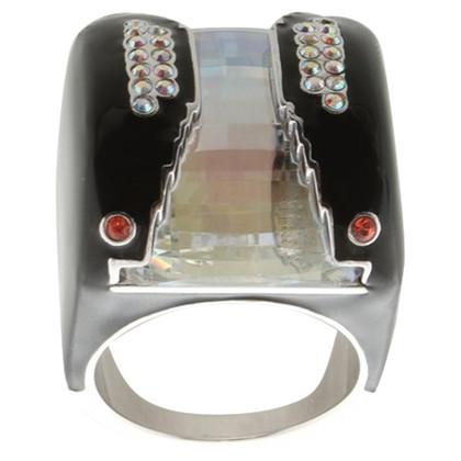 Swarovski Statement Ring in Black / Silver