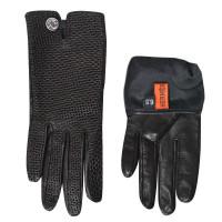 Hermès Schwarze Lederhandshuhe