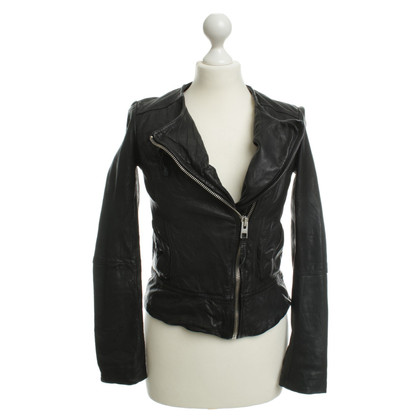 All Saints Lederjacke in Schwarz