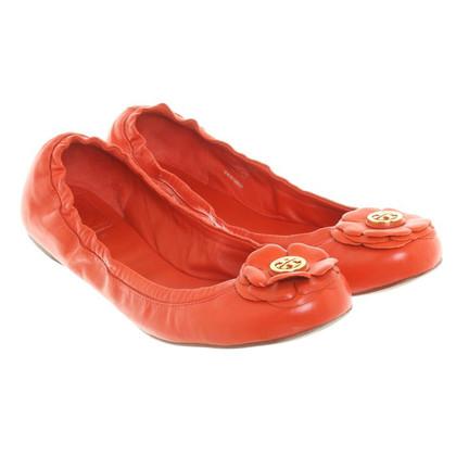 Tory Burch Ballerina's in oranje-rood
