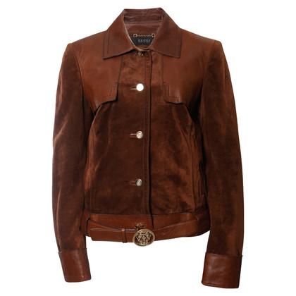 Gucci giacca di pelle scamosciata