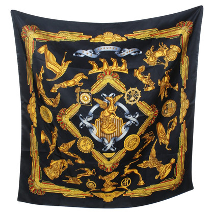 Hermès Silk scarf with golden pattern