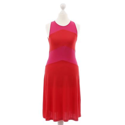 Piu & Piu Bi-colour jurk in roze-rood