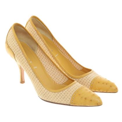 Prada pumps raffia / ostrich leather