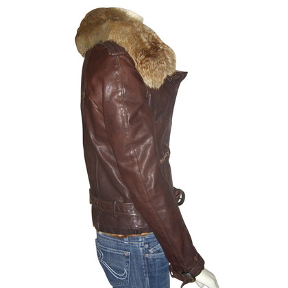 Giorgio Brato Leather jacket with Fox collar and fur lining