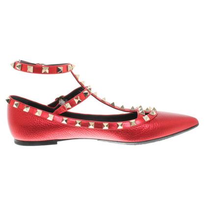Valentino Rockstud-Ballerinas in Rot