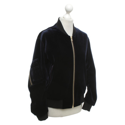 Sandro Velvet blouson in blue / black