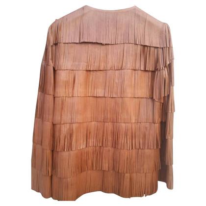 Prada leather jacket with fringes