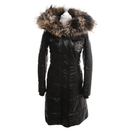 Philipp Plein manteau en cuir noir