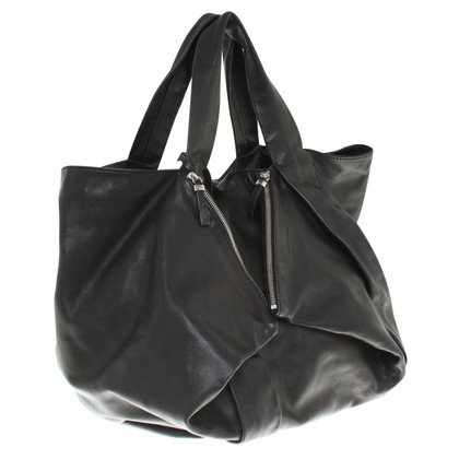 Jil Sander Leder-Shopper in Schwarz
