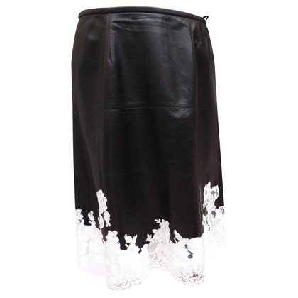 Céline Leather skirt with lace