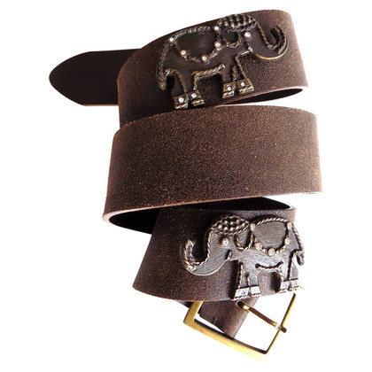Blumarine Leather belt with elephant motif