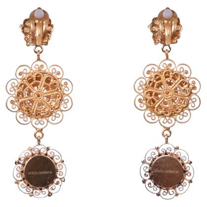 Dolce & Gabbana Filigree Sicilia Clip Earrings Gold
