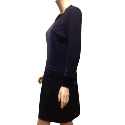 Chanel vestito di lana con collo di velluto