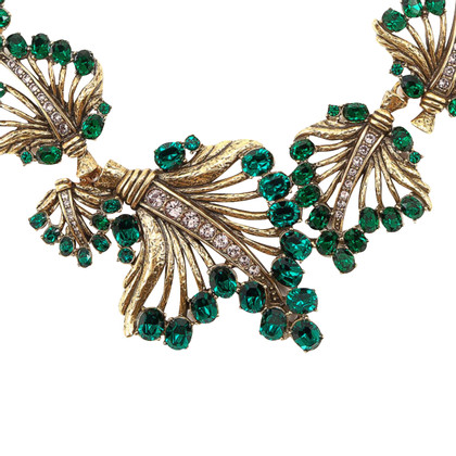 Oscar de la Renta Gold & Crystal Leaf Necklace