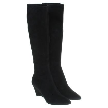 Jil Sander Suède laarzen in zwart