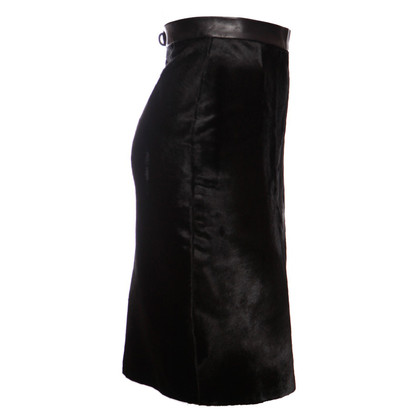 Plein Sud Black leather skirt with pony skin