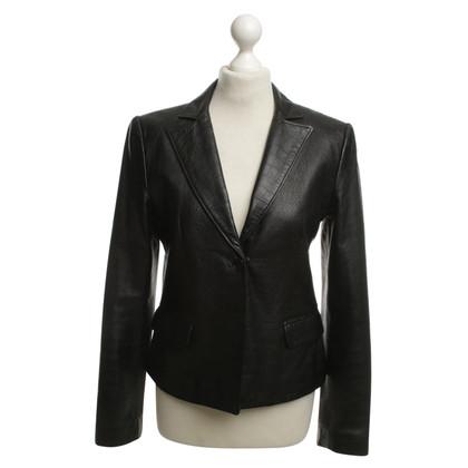 Gianni Versace Lederen Blazer in zwart