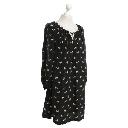Juicy Couture Silk dress with motif print in black / white